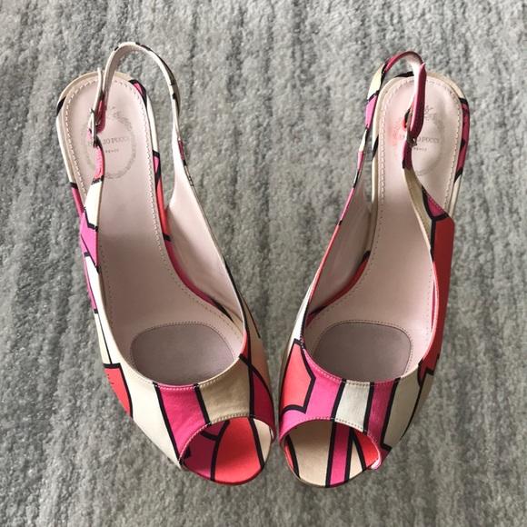 efe9be66222 NIB Emilio Pucci sling back peep toe heels sz 38.5